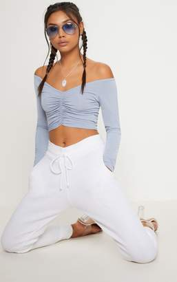 PrettyLittleThing Powder Blue Slinky Ruched Front Long Sleeve Crop Top