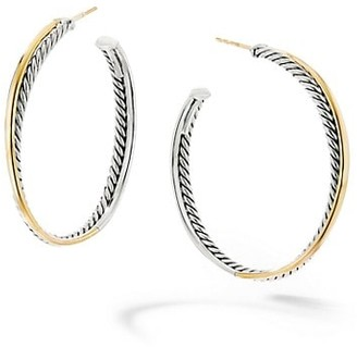 David Yurman Crossover Extra-Large Hoop Earrings With 18K Yellow Gold