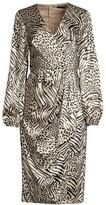 Jay Godfrey Long-Sleeve Tie-Front Midi Dress