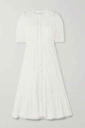 Reformation Oxford Broderie Anglaise-trimmed Organic Cotton-voile Midi Dress - Ivory