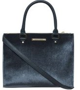 Dorothy Perkins Womens Navy Velvet Pipe Tote Bag- Blue