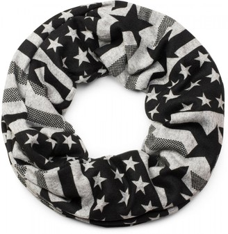 styleBREAKER fine knit loop tube scarf with stars and stripes design stars stripes scarf unisex 01017044