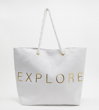 South Beach Exclusive Explore beach tote bag in white canvas