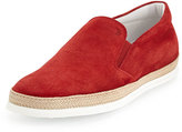 Tod's Suede Espadrille Slip-On Skate Sneaker, Red