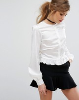 Fashion Union Peplum Hem Tie Up Satin Shirt