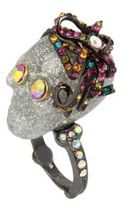 Betsey Johnson Crystal Halloween Skull Cocktail Ring