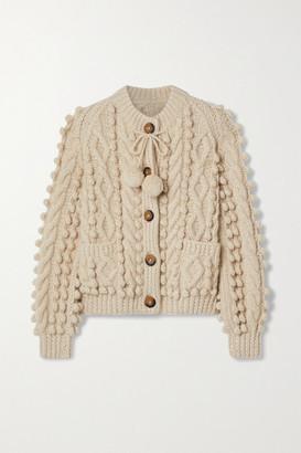 DÔEN Pomme Tie-detailed Cable-knit Alpaca-blend Cardigan - Cream
