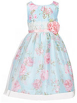 Jayne Copeland Little Girls 2T-6X Floral-Printed Sheer-Overlay-Skirted Dress
