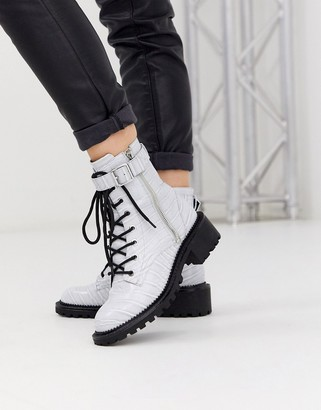 Asos Design DESIGN Anya hardware lace up boots in gray croc