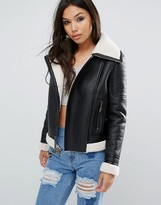 Glamorous Biker Jacket With Faux Shearling Lining