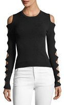 Autumn Cashmere Slash-Sleeve Crewneck Sweater