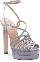 Aquazzura Monroe Plateau Glittered Platform Sandals