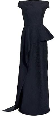 Teri Jon by Rickie Freeman Off-the-Shoulder Ruffled Gown