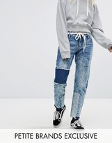 Urban Bliss Petite Straight Leg Jeans With Shadow Patching And Raw Hem