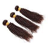 Ruiyu 7A Grade Brazilian Virgin Hair Kinky Curly 3 Bundles Human Hair Extensions Brazilian Hair #4 Light Brown Color 24 Inches Pack of 3