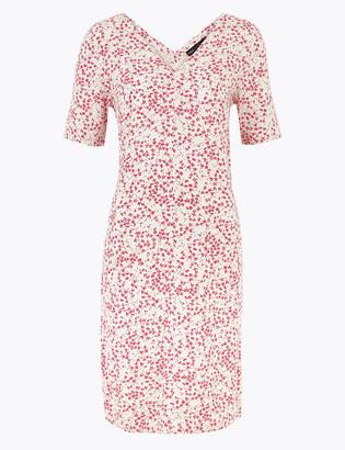 Marks and Spencer Linen Floral V-Neck Knee Length Shift Dress