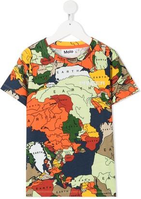 Molo map print round neck T-shirt