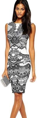 TUDUZ Hot Womens Vintage Flower Printed Elegant Pencil Dress Sleeveless Dress (White L)