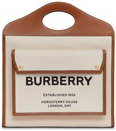 Burberry MEDIUM LOGO CANVAS & LEATHER TOTE