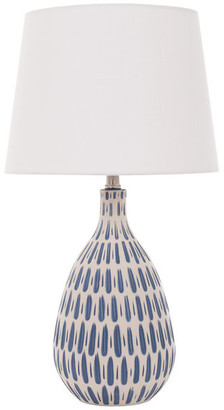 """River Of Goods 24.5"""" White Linen Table Lamp With Ceramic Blue and White Base"""