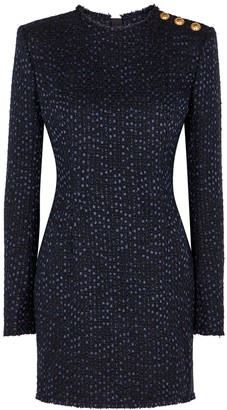 Balmain Midnight blue boucle tweed mini dress