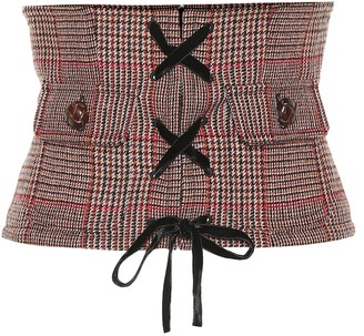Miu Miu Checked wool-blend corset belt