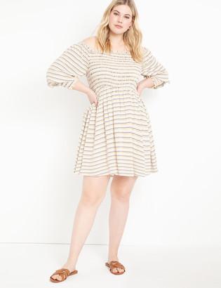 ELOQUII Smocked Bodice Midi Dress