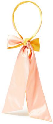 Eugenia Kim Tamara Bow-detailed Two-tone Satin And Pique Headscarf