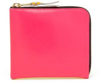 Comme des Garcons Fluoro Bi-colour Leather Wallet - Womens - Pink Multi