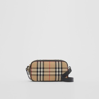 Burberry Mini Vintage Check and Leather Camera Bag