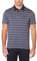 Perry Ellis Non-Iron Heathered Stripe Pima Cotton Short-Sleeve Polo Shirt