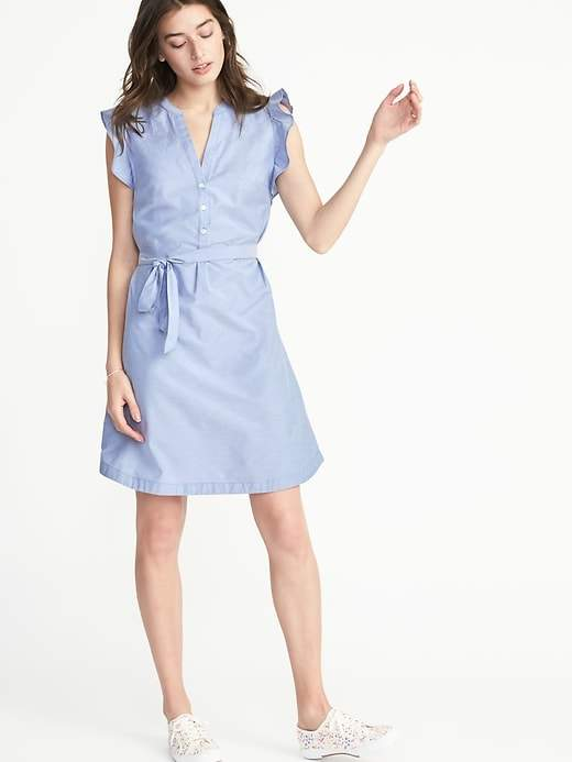 Old Navy Sleeveless Ruffle-Trim Tie-Belt Shirt Dress for Women