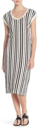 Susina Striped Cap Sleeve Midi Dress