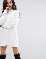 PrettyLittleThing Ruched Sleeve Sweater Dress
