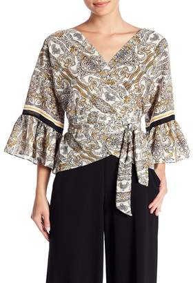 Max Studio Printed Bell Sleeve Wrap Blouse