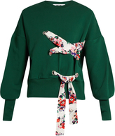 MSGM Lace-up front cotton-jersey sweatshirt