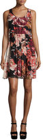Elizabeth and James Sleeveless Floral Silk Mini Dress, Multicolor