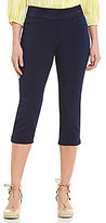 Intro Petites Sheri Pintuck Pull-On Denim Capri Pants