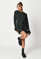 Missguided Black Floral Cuff Jersey Smock Dress