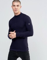 Armani Jeans Sweater With Textured Knit In Navy With Sleeve Logo