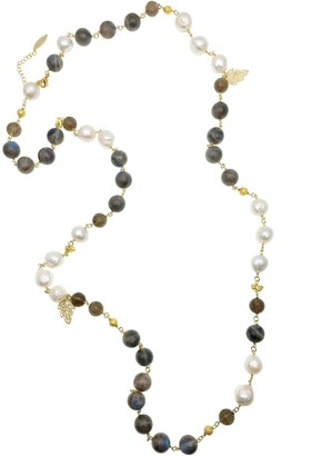 Farra Freshwater Pearls With Labradorite Multi-Way Necklace