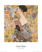 Gustav 1art1 Posters Klimt Poster Art Print - Lady With Fan (20 x 16 inches)
