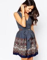 Yumi Tie Dress in Mixed Scarf Print