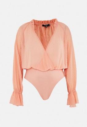 Missguided Plus Size Peach Dobby Mesh Wrap Bodysuit