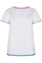 Mira Mikati Blanket Stitch Scuba Top White