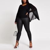 River Island Womens Plus Black pleated sleeve V neck top