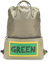Fendi Green slogan drawstring backpack