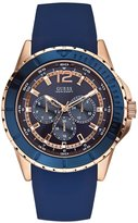 GUESS Blue and Rose Gold-Tone Masculine Racing Watch