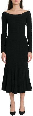 Alexander McQueen Cablestitching Knitted Dress With Flared Bottom