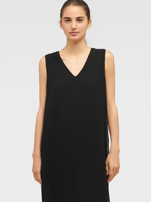 DKNY Women's Sleeveless V-neck Mixed Media Overlay Dress - Black - Size XS